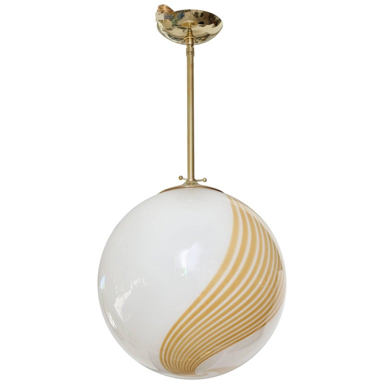 Vintage Italian Glass Ball Pendant Lamp 1