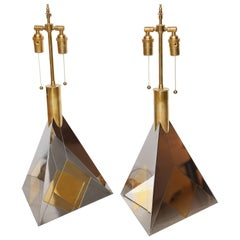 Pair of Vintage Brass and Nickel Pyramid Table Lamps