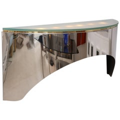 Vintage Floating Two-Tone Wall Console Style of Karl Springer
