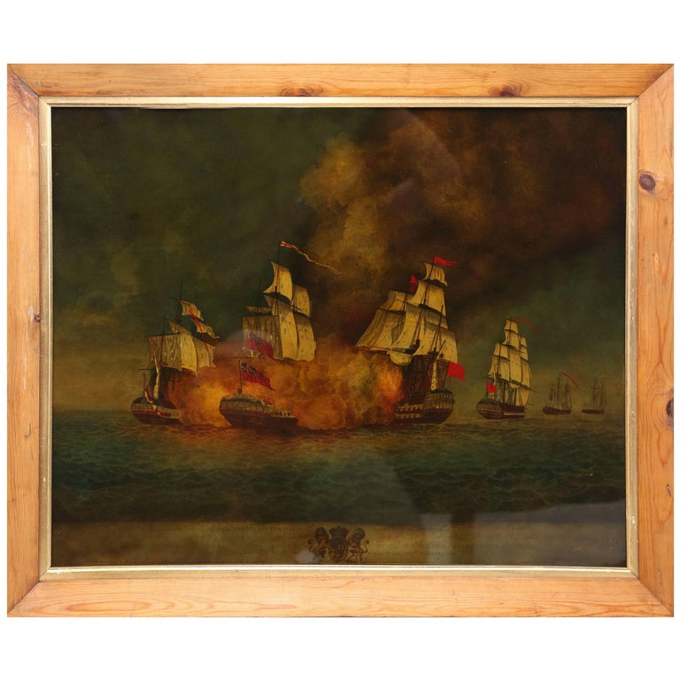 Reverse Painted Ship Painting, Églomisé, Battle of Aix Roads For Sale