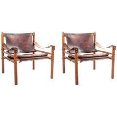 Pair of 1960s Original Arne Norell Sirocco Safari Lounge Chairs