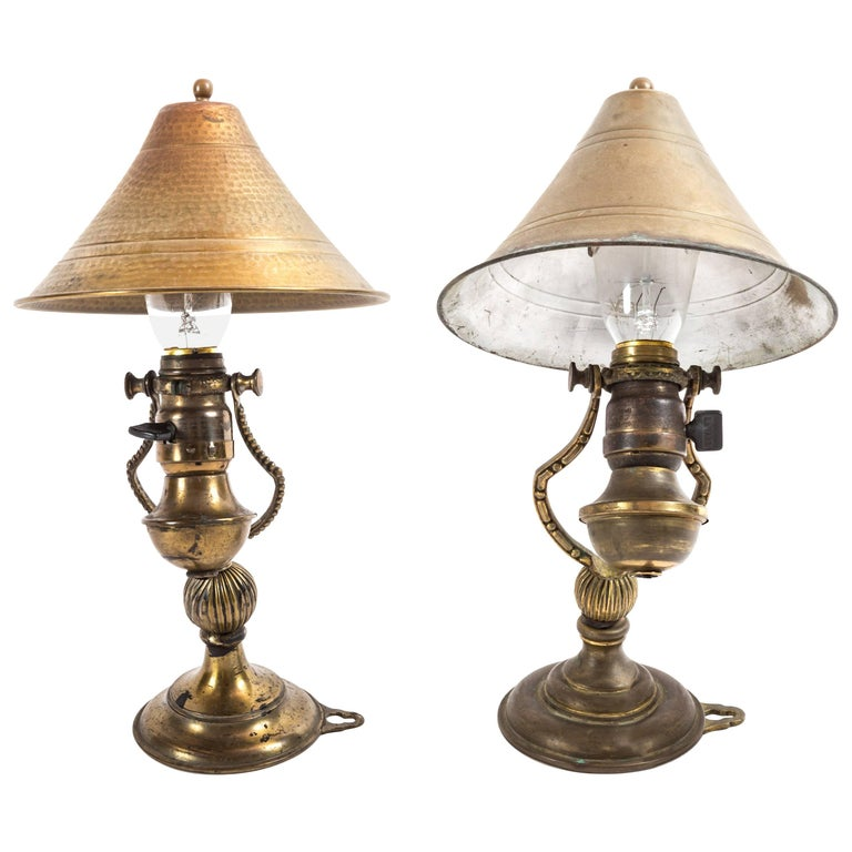 Pair of Aged Brass Wall Sconces with Brass Shades For Sale at 1stdibs