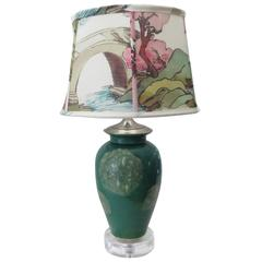 Custom Kravet Couture Lampshade and Vintage Ceramic Jar Table Lamp