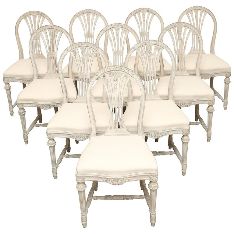 Set of Ten Antique Swedish, Gustavian Style Dining Chairs Late 19th Century  For Sale - Set Of Ten Antique Swedish, Gustavian Style Dining Chairs Late 19th