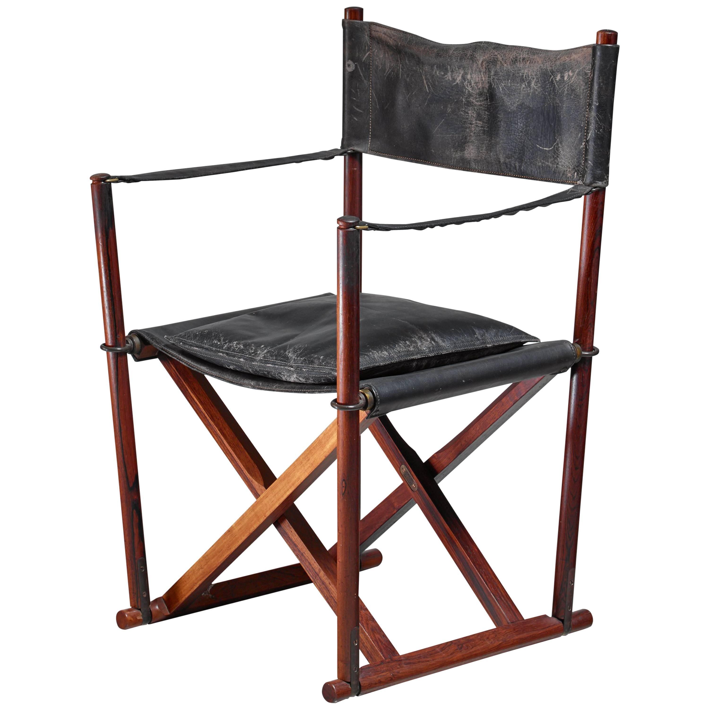 Mogens Koch MK-16 Safari Chair for Interna in Rosewood, Denmark, 1960s
