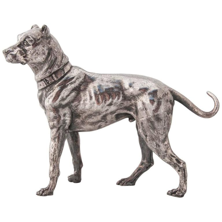 WMF Silver Plated Figure of a Mastiff For Sale