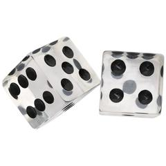Large Clear Lucite Decorative Dice