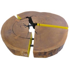 Reclaimed Sculptural Lirio Mirindiba Wood Coffee Table Wheels by Valeria Tot