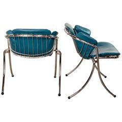 Pair of Mid-Century Italian Dining Chairs Lynn by Gastone Rinaldi for RIMA