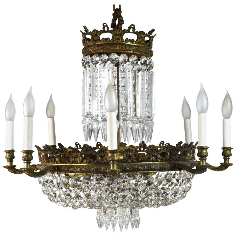 Stunning 1940s twelve candle crystal chandelier at 1stdibs Crystal candle chandelier
