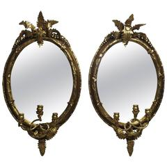 Pair of 19th Century Fern Leaf Mirrored Sconces