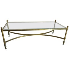 Mid-Century Brass Coffee Table with Glass Top