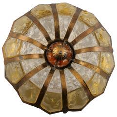 Italian Mottled Glass and Bronze Round Flush Mount
