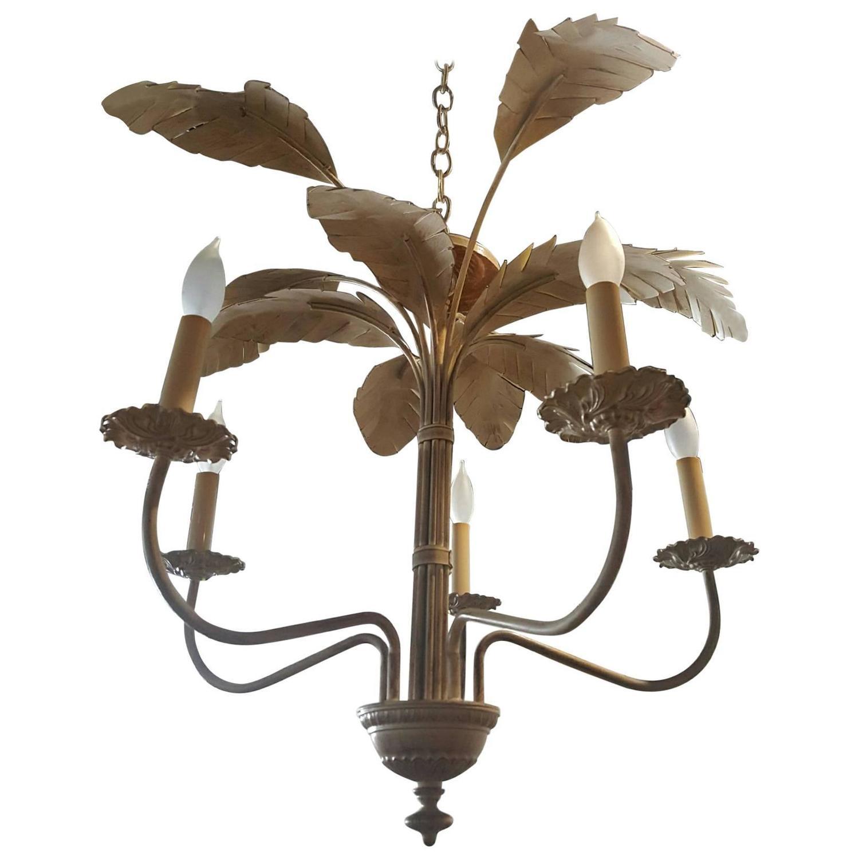 Handcrafted gold leaf on metal palm tree crystal chandelier at 1stdibs palm tree frond leaf leaves chandelier vintage metal tropical hollywood regency arubaitofo Images