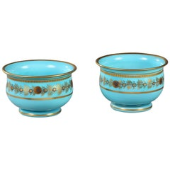 Pair of Early 19th Century Blue Opaline Bowls by Desvignes