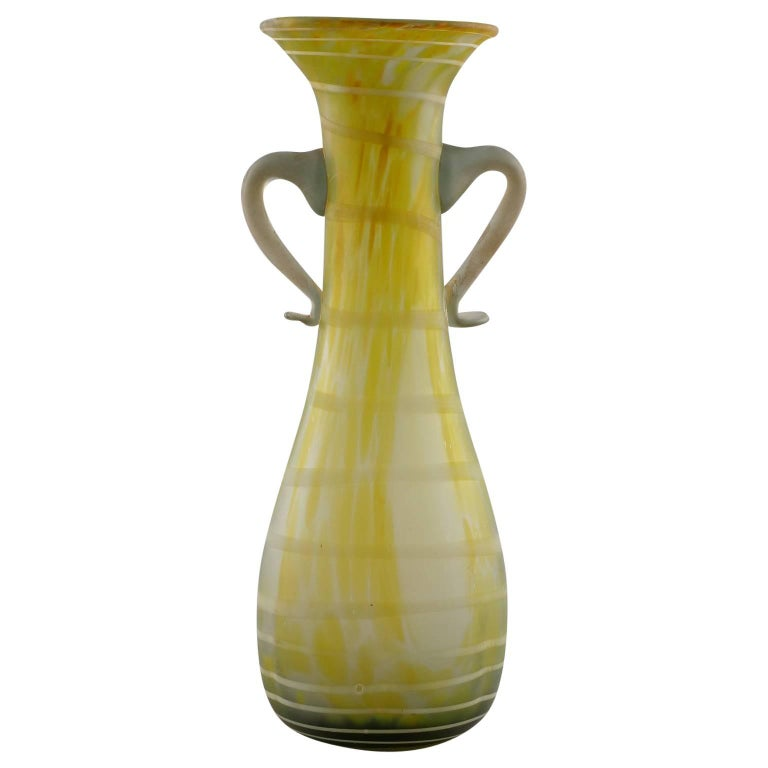 Italian Green and White Art Glass Amphora Style Vase