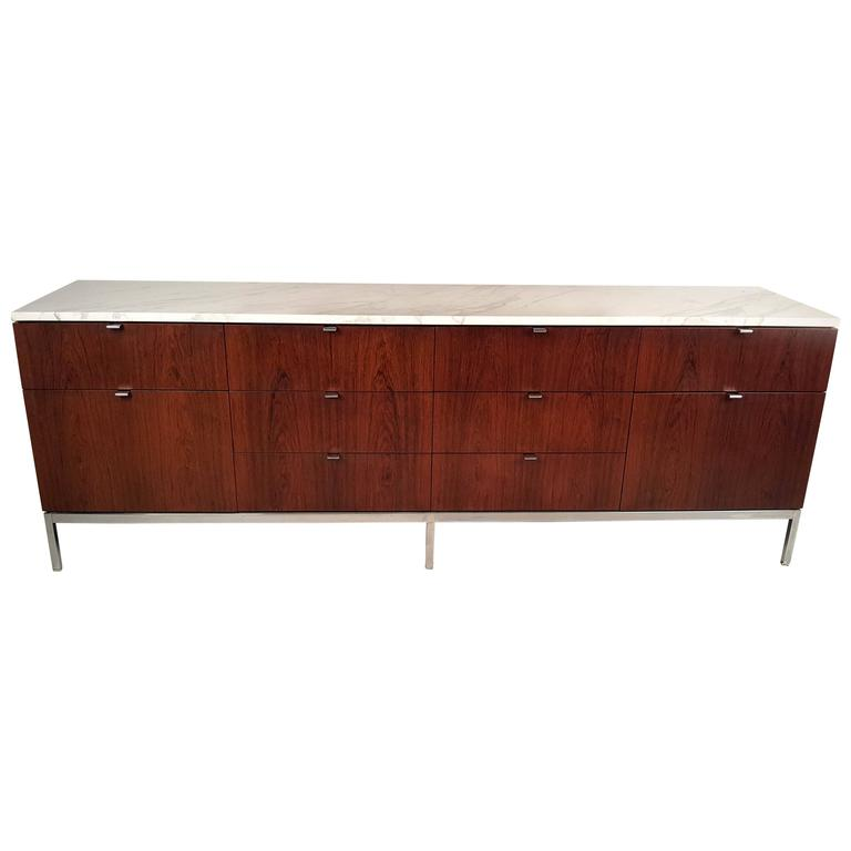 Florence Knoll Rosewood Credenza with Carrara Marble Top For Sale