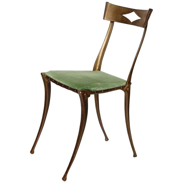 Italian Klismos Neoclassical Gold Leaf Metal Chair by Palladio For Sale
