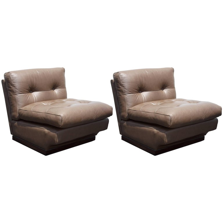 Mario Bellini Leather Lounge Chairs for B&B Italia For Sale