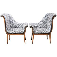 Pair of Regency Style Zebra Print Lounge Chairs