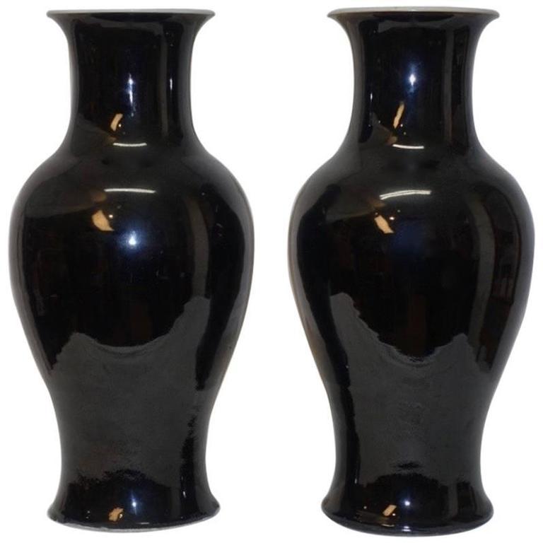 Pair of Chinese Mirror Black Vases, Kangxi Period, 19th Century 1