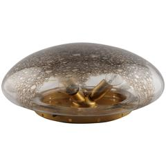 Mid-Century Barovier & Toso Flush Mount Fixture with Mottled Glass