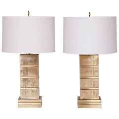 Mid-Century Pair of Brass Table Lamps with Bamboo Motif