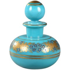 Charles X Perfume Bottle in Blue Turquoise Opaline by Jean-Baptiste Desvignes
