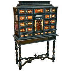18th Century Italian Ebony and Bronze Vargueno Cabinet
