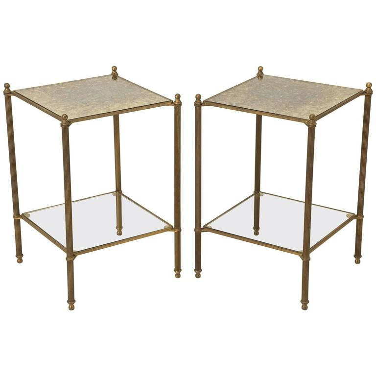 Vintage Modern Brass And Smoked Glass Side Or End Table