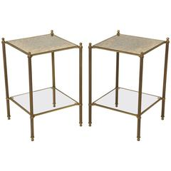 French Mid-Century Modern Brass and Bronze Side Tables or End Tables