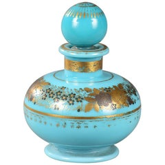 Perfume Bottle in Turquoise Opaline, Decorated by Jean-Baptiste Desvignes