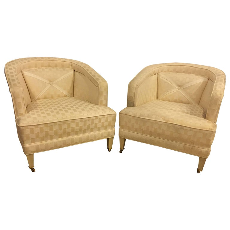 Pair of Hollywood Regency Style Dorothy Draper Style Lounge Chairs