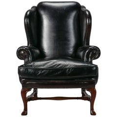 Large English Black Leather Wing Chair