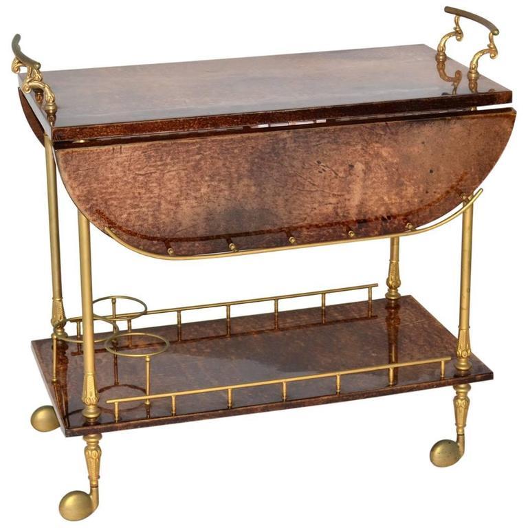 Aldo Tura Goatskin Drop-Leaf Bar or Tea Cart