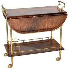Aldo Tura Goatskin Drop-Leaf Bar or Tea Cart