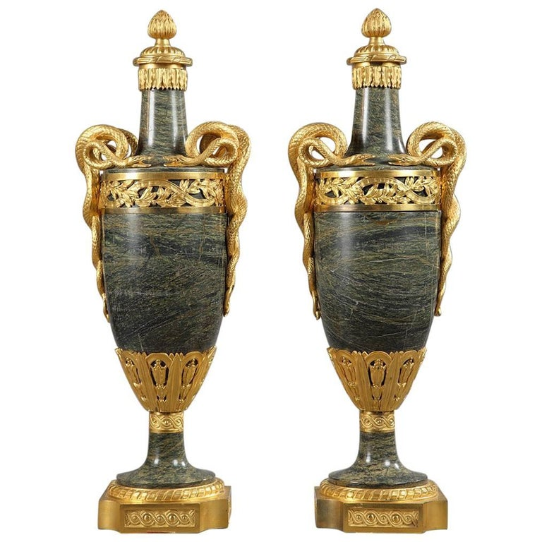 Pair of Late 19th Century Green Marble and Gilt Bronze Vases