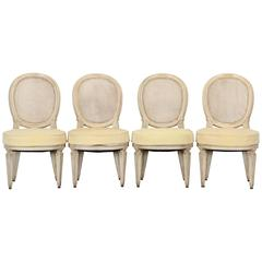 Set of Four French Louis XVI Jansen Style Painted Side Chairs, 1950