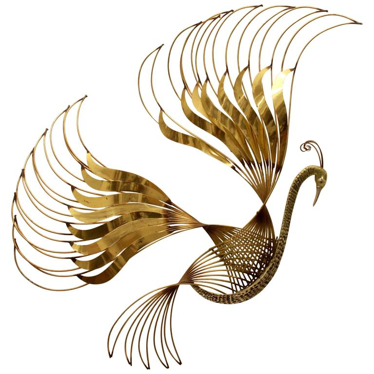 Curtis C. Jere Brass Peacock Wall Sculpture For Sale