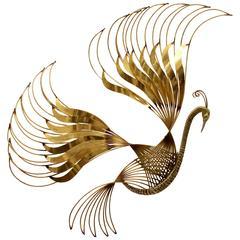 Curtis C. Jere Brass Peacock Wall Sculpture