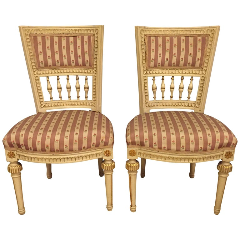 Pair of Paint Decorated Jansen Style Side Chairs