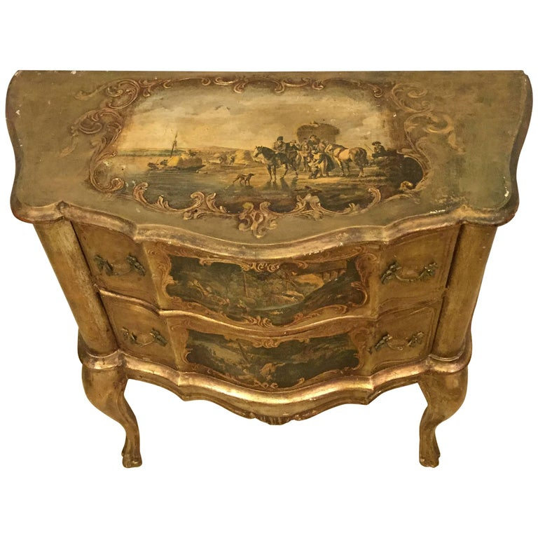 Small Italian Baroque Style Bombay Commode Or Nightstand