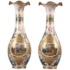 Large Pair of Opaline Vases, Attributed to Jean François Robert
