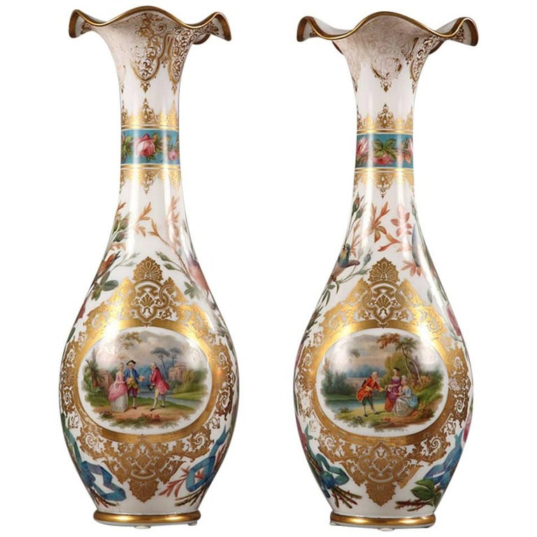Large Pair of Opaline Vases, Attributed to Jean François Robert For Sale