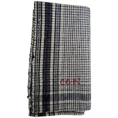 French 19th Century Monogrammed Indigo Checked Linen Square
