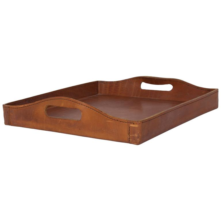 Rare Large and Thick Leather Serving Tray by the Auböck Workshop, Vienna, 1950s