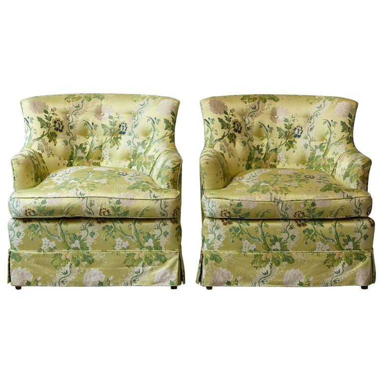 Pair of Lounge Chairs in Lime Green Floral Chintz from ABC For Sale