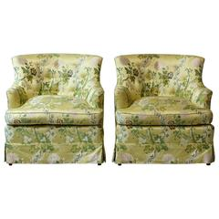 Pair of Lounge Chairs in Yellow Floral Chintz from ABC