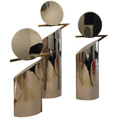 Italian Mid-Century Chrome & Brass Modern Lino Sabattini Style, S/3 Candlesticks