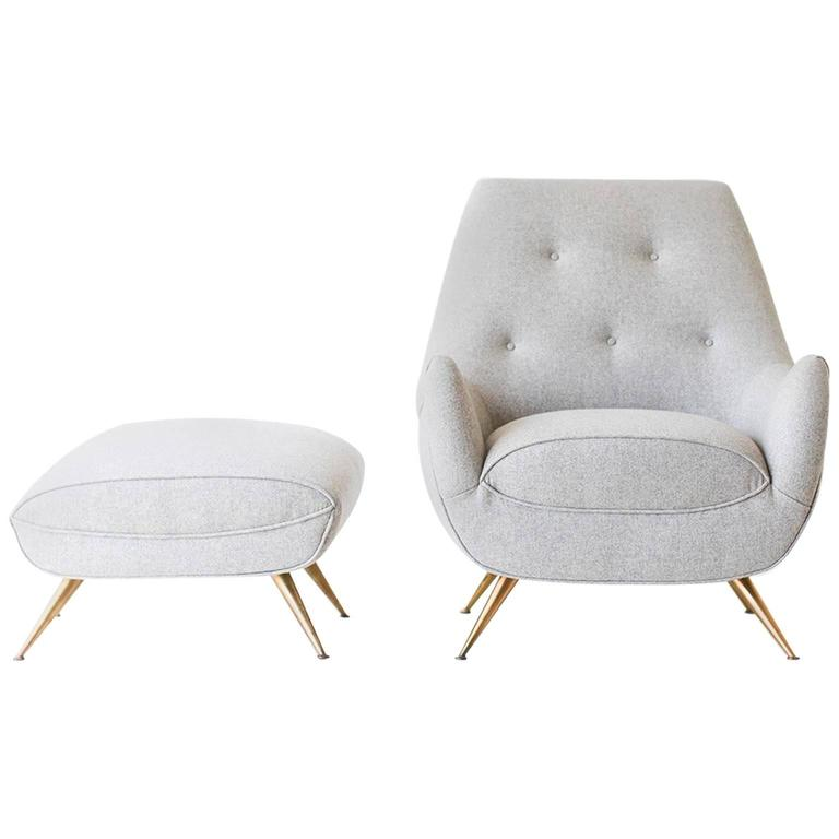 Henry Glass Lounge Chair and Ottoman